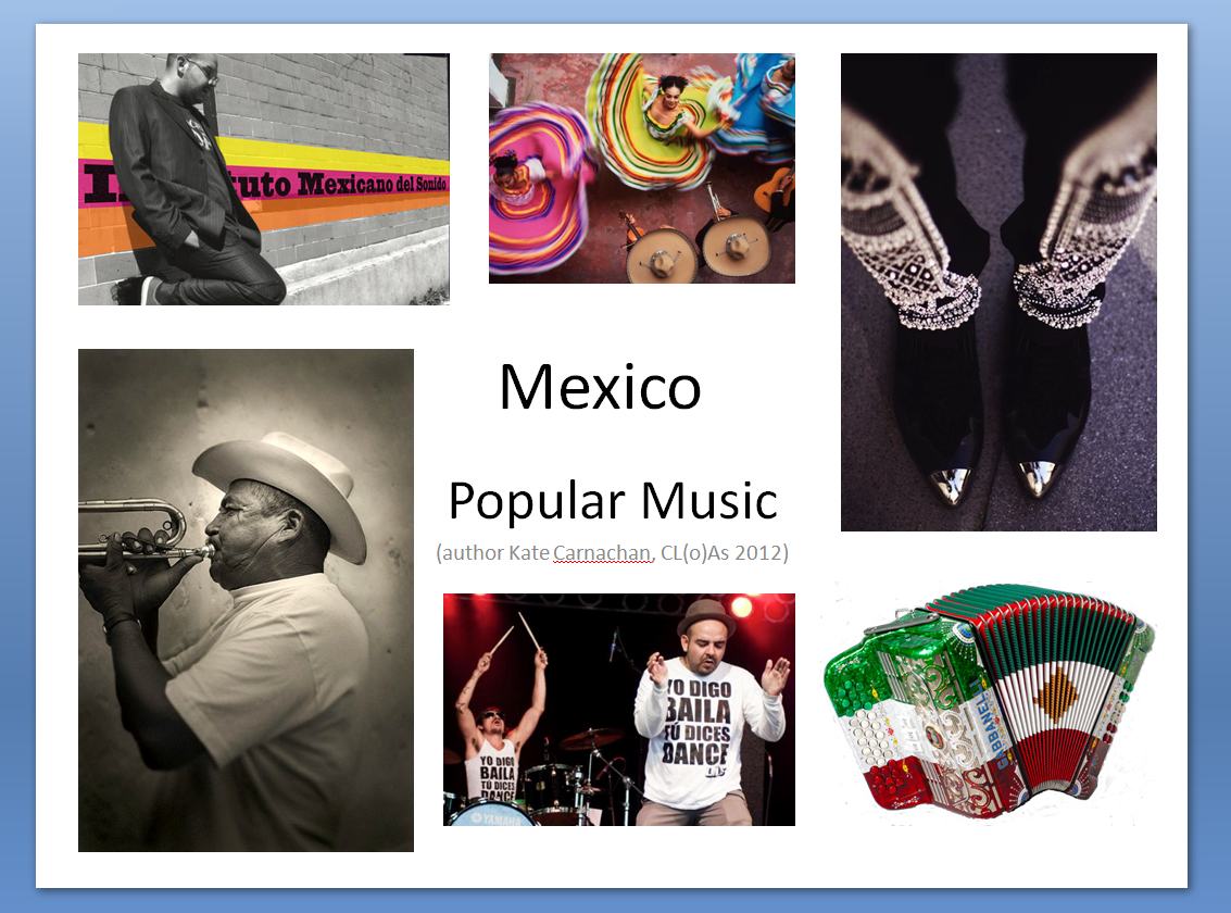 The title slide from Kate Carnachan's presentation on Mexican popular music, featuring images of Mexican musicians, dancers and instruments.
