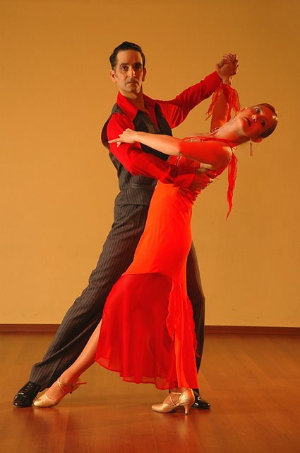 Salsa dancers in a dance pose.