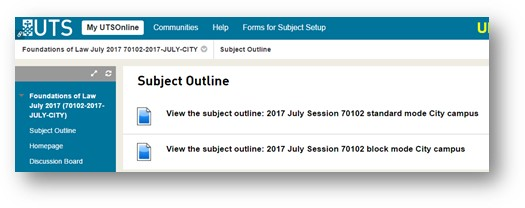 Subject Outline shown in UTS Online