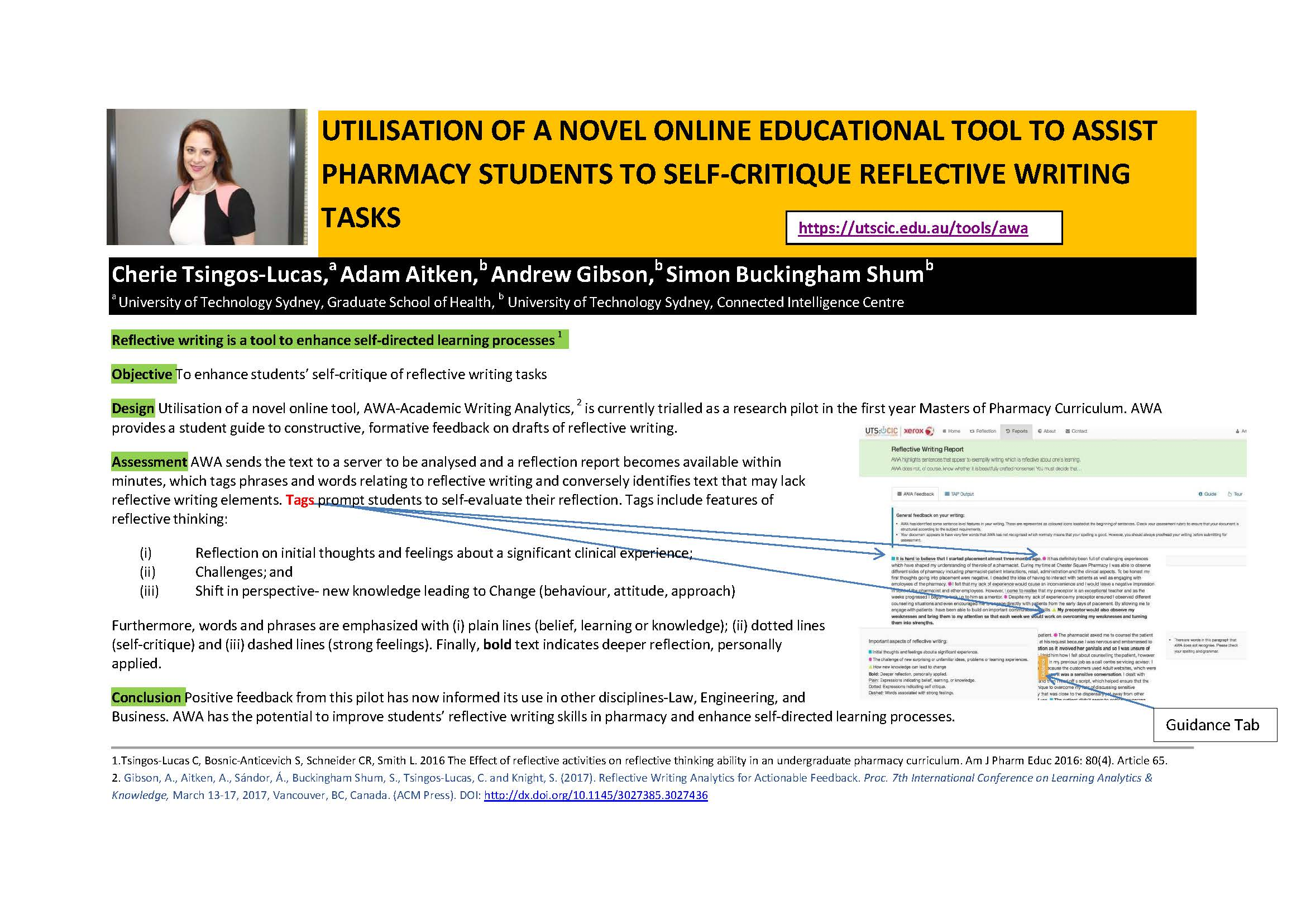 The poster the team won the award for, titled 'Utilisation of a novel online educational tool to assist pharmacy students to self-critique reflective writing tasks'.