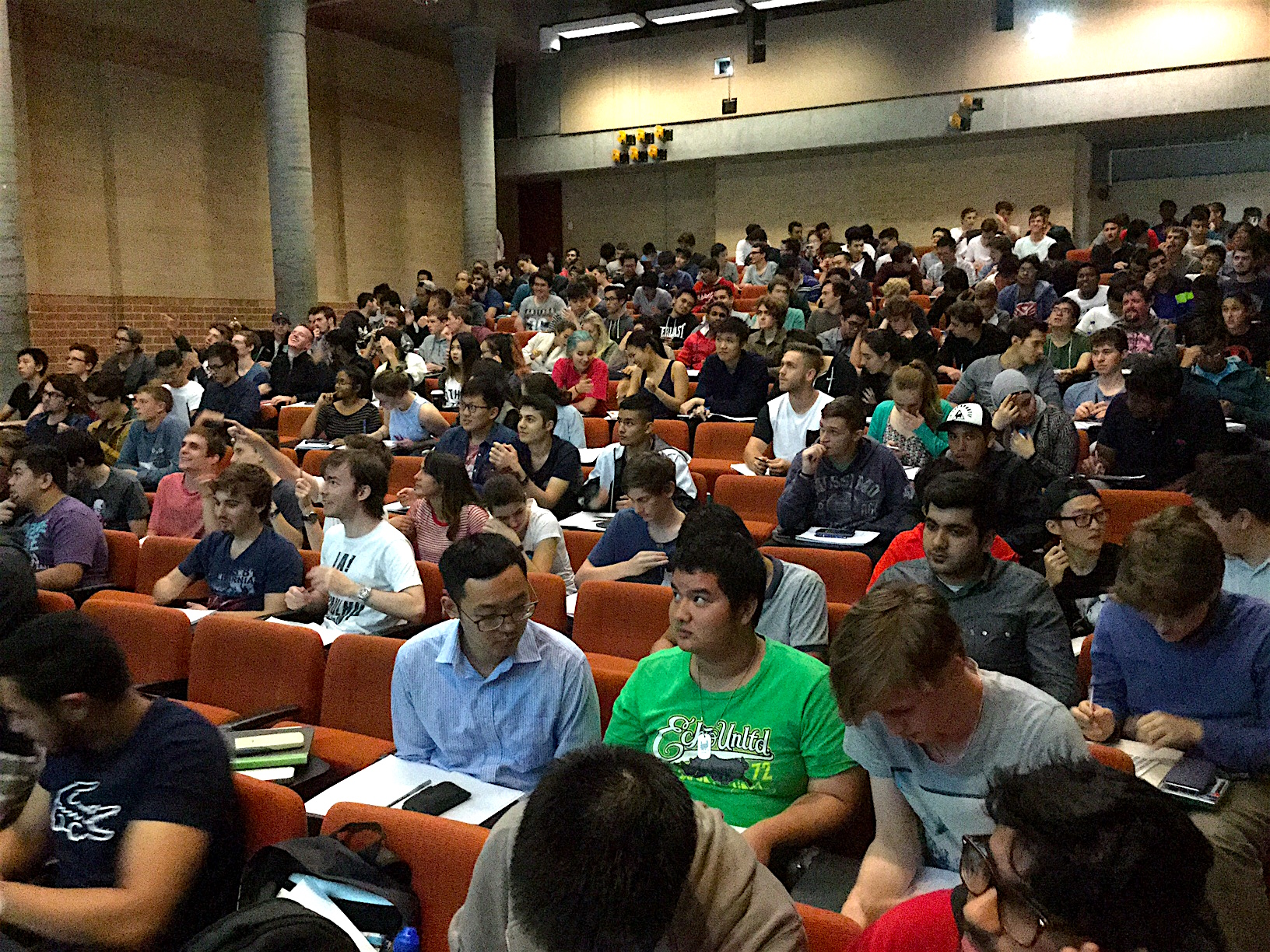 A lecture theatre full of students, one of Terry's large classes