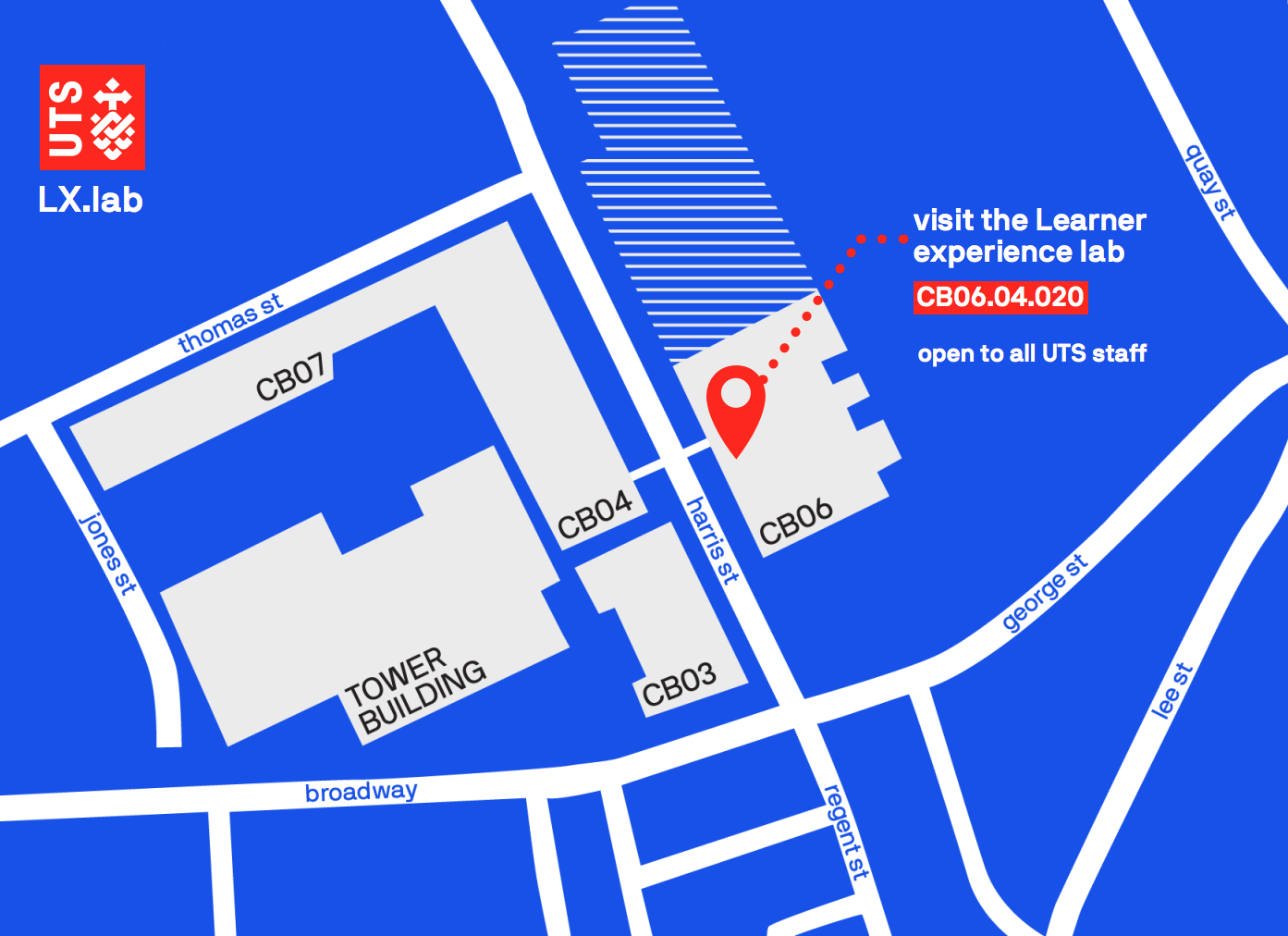 Map showing the LX.lab in building 6 level 4 of the UTS campus
