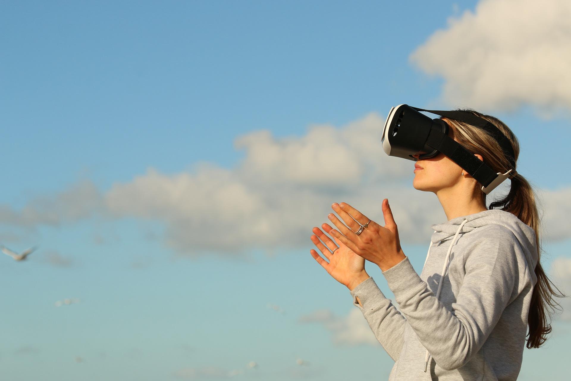 Person using virtual reality headset