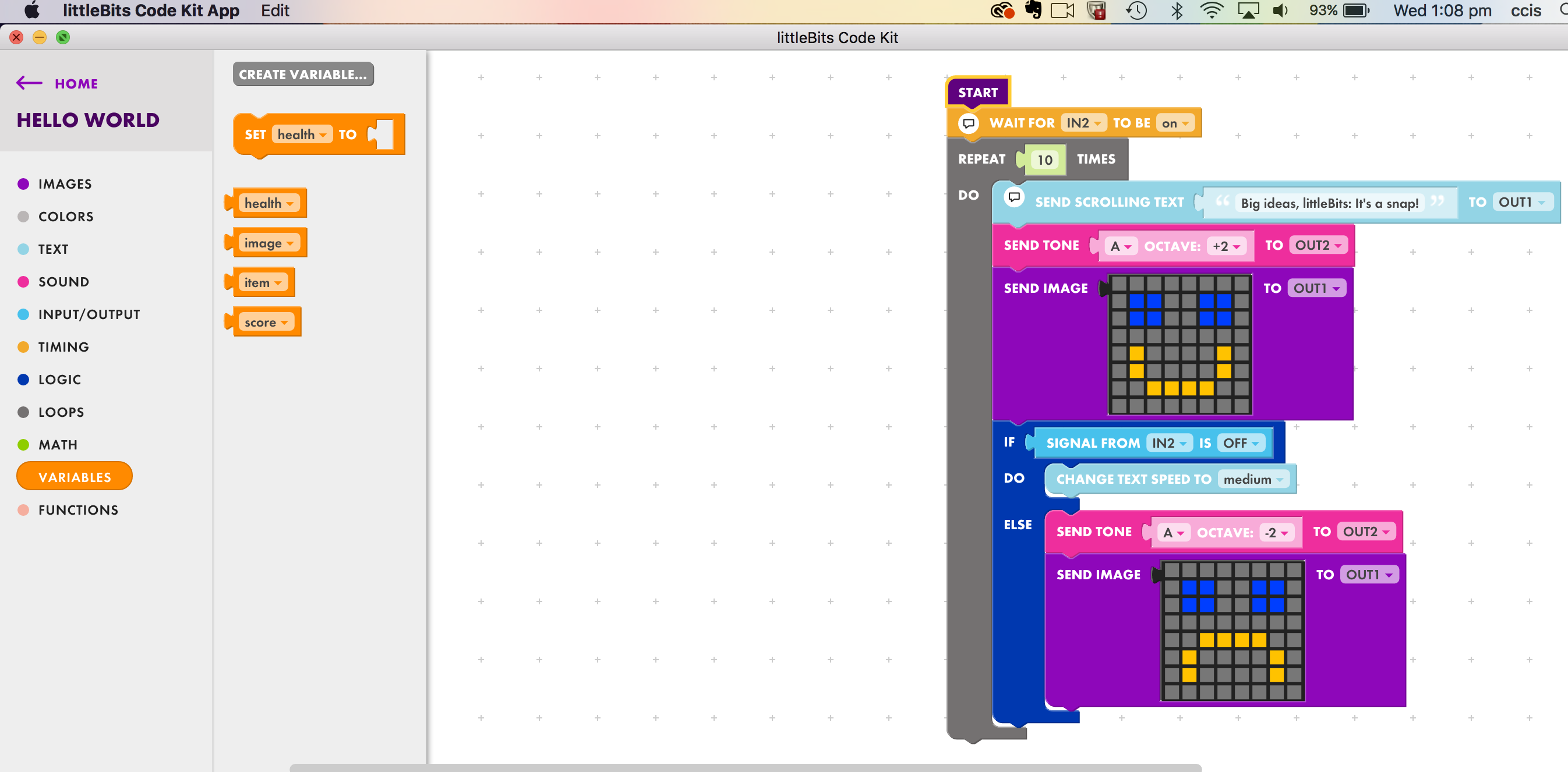 Drag-and-drop code & click-together circuitry: the littleBits of big projects