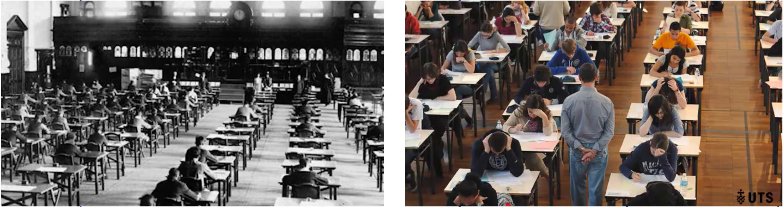 two images - on the left, a black and white picture of an old traditional classroom, on the right a colour photo of a modern day classroom