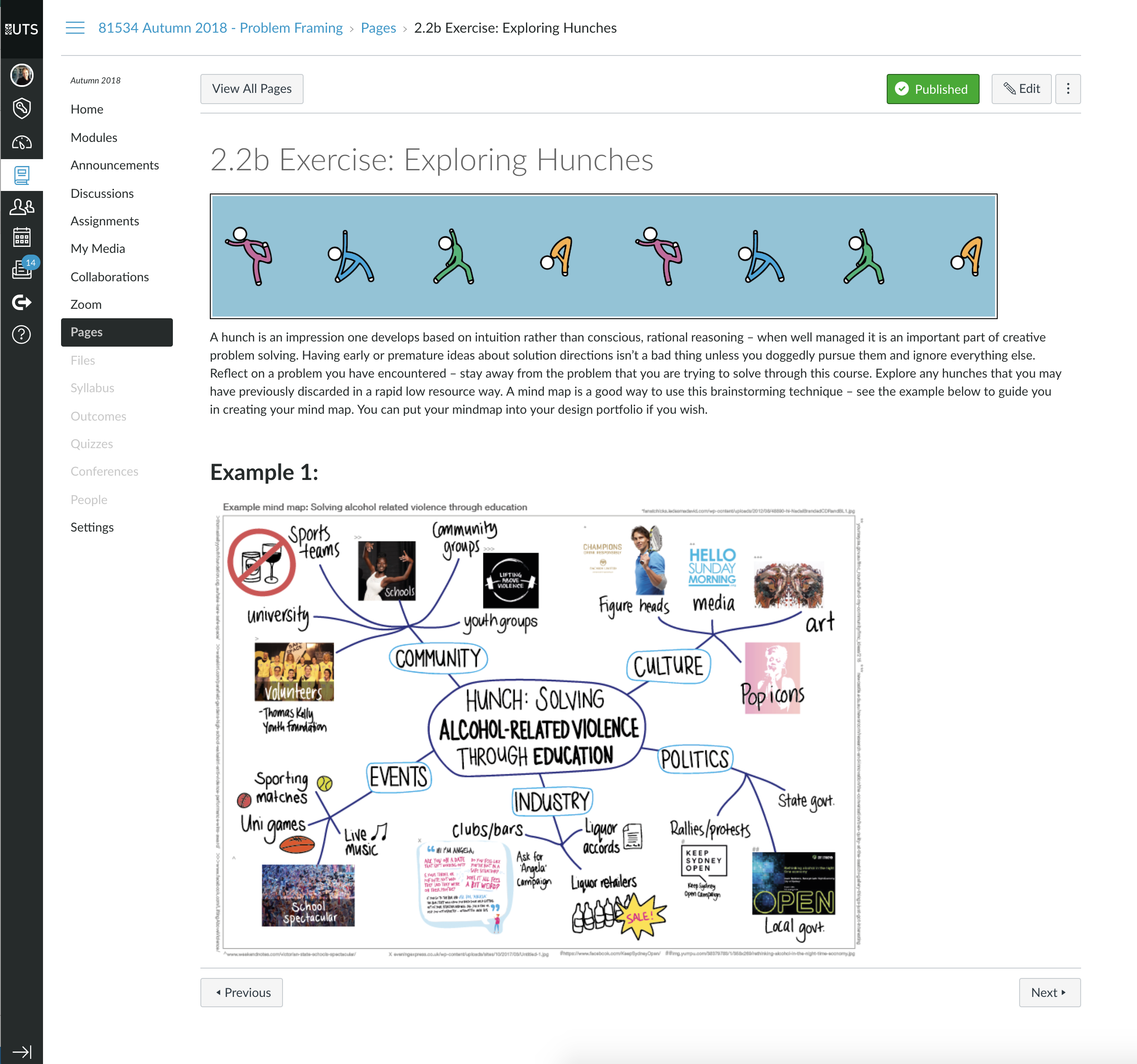 """Screenshot of online exercise: """"Exploring Hunches"""""""