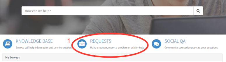 A screenshot of the navigation bar on the ServiceConnect homepage. The option in the centre of the page, 'Requests', is circled in red.