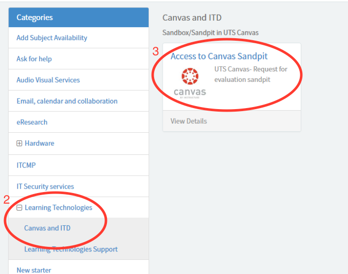 A screenshot of the request menu in ServiceConnect. On the left side of the page is a list of options. In this list, the 'Learning Technologies' option has been expanded. The first option in this expanded list is 'Canvas and ITD'. Both of these options have been circled in red. To the right of the list is a tile labelled 'Access to Canvas sandpit'. This tile is also circled in red.