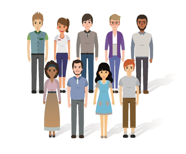 an illustration of a diverse group of people standing in two lines