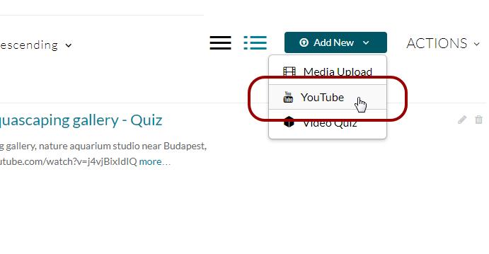 Screenshot of Kaltura's YouTube feature