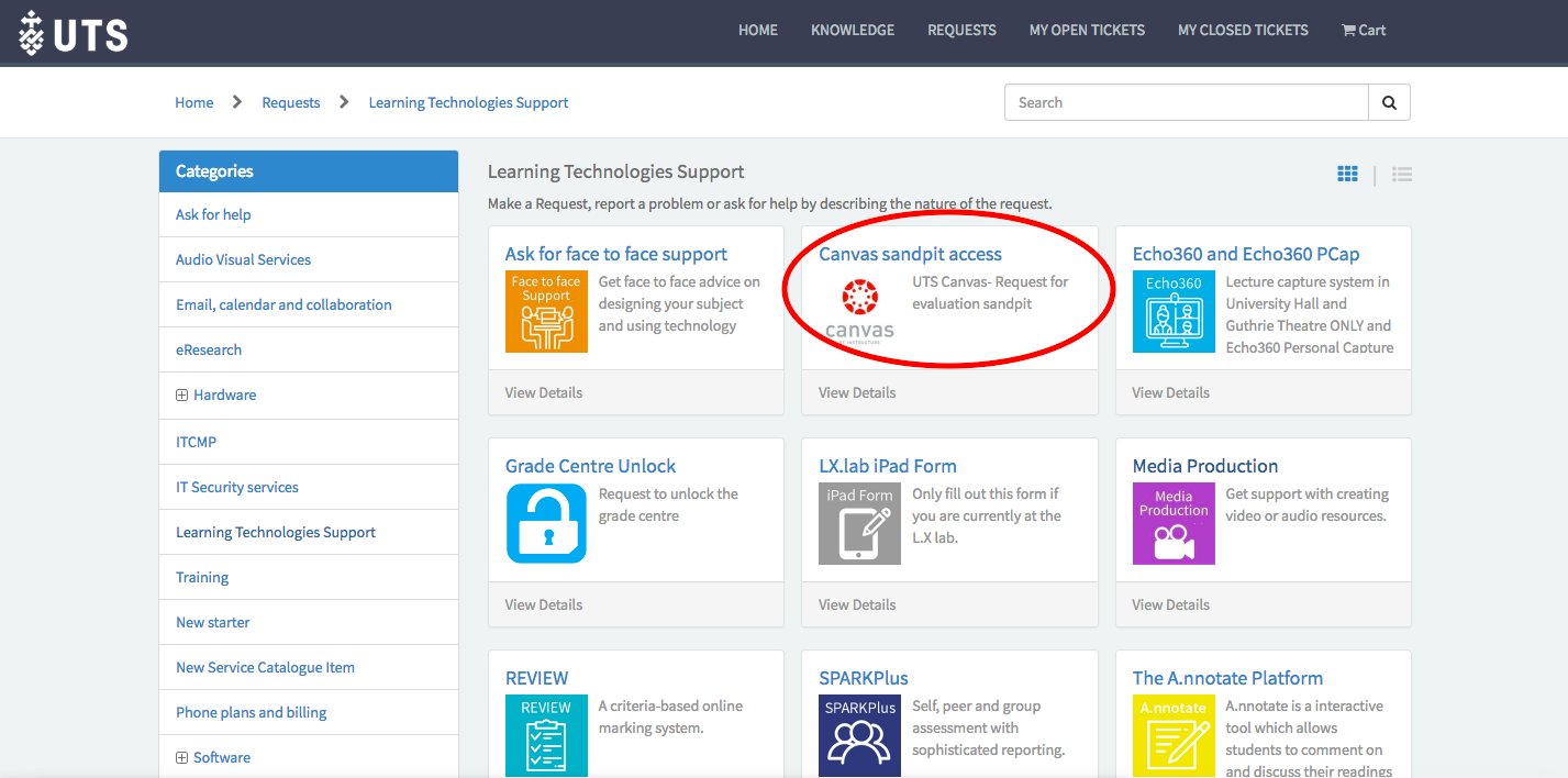 screenshot of ServiceConnect screen with Canvas sandpit button circled in red, in the middle top of the page