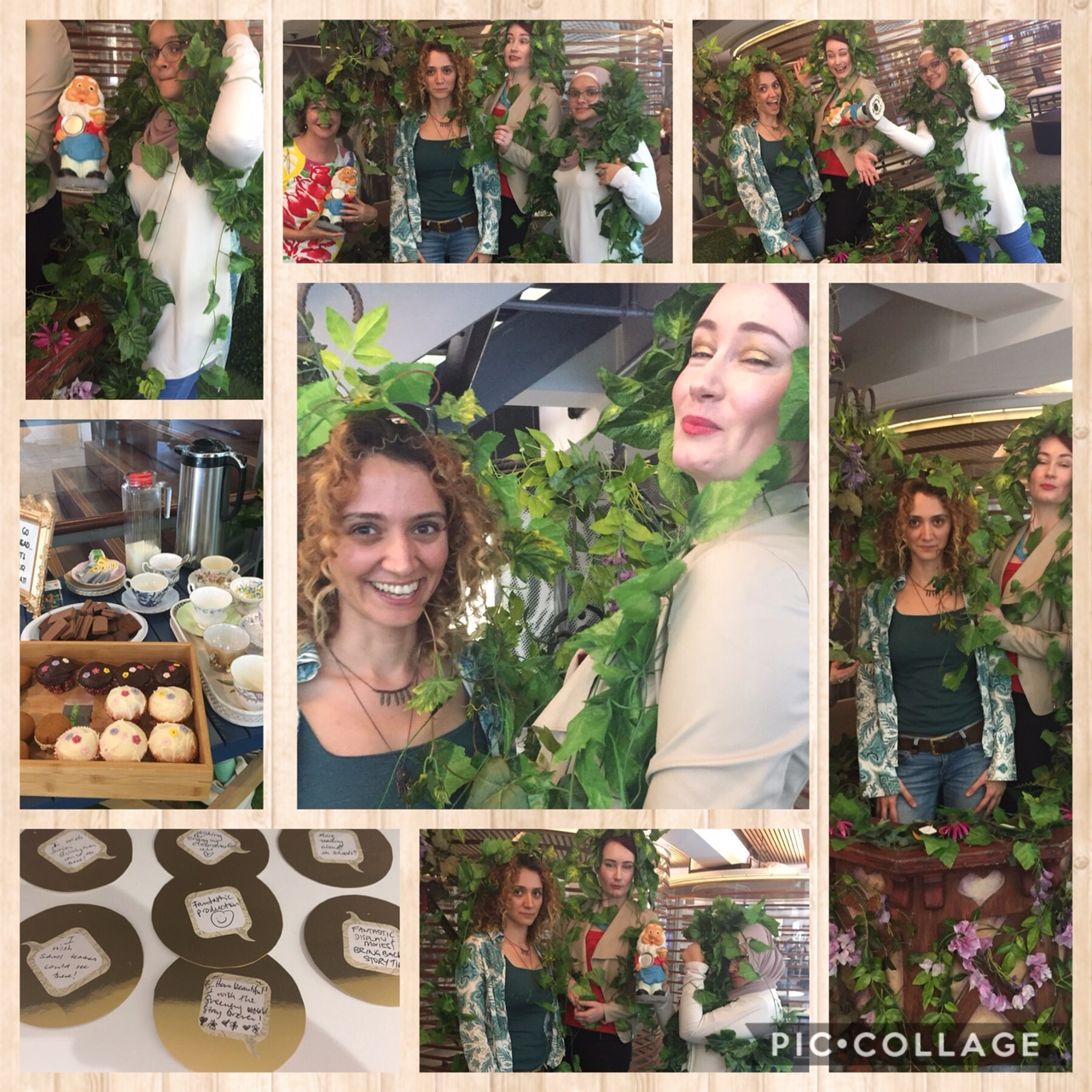 a collage of students in an indoor garden setting