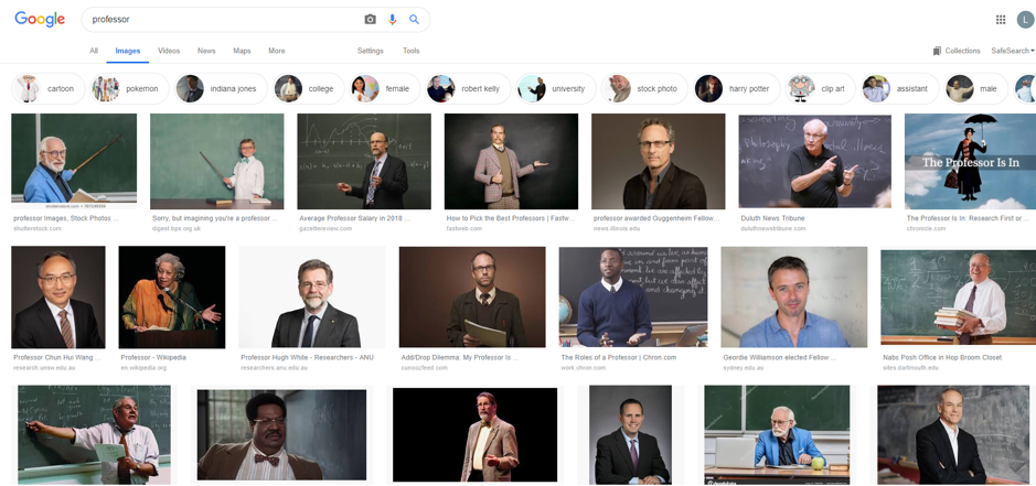 a screenshot of the google image search page for 'professor' - all of the images are of men, and mostly white men