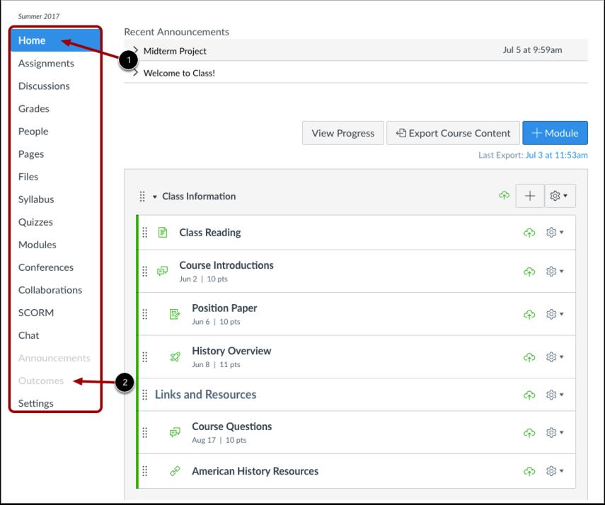 A screenshot highlighting the course navigation menu
