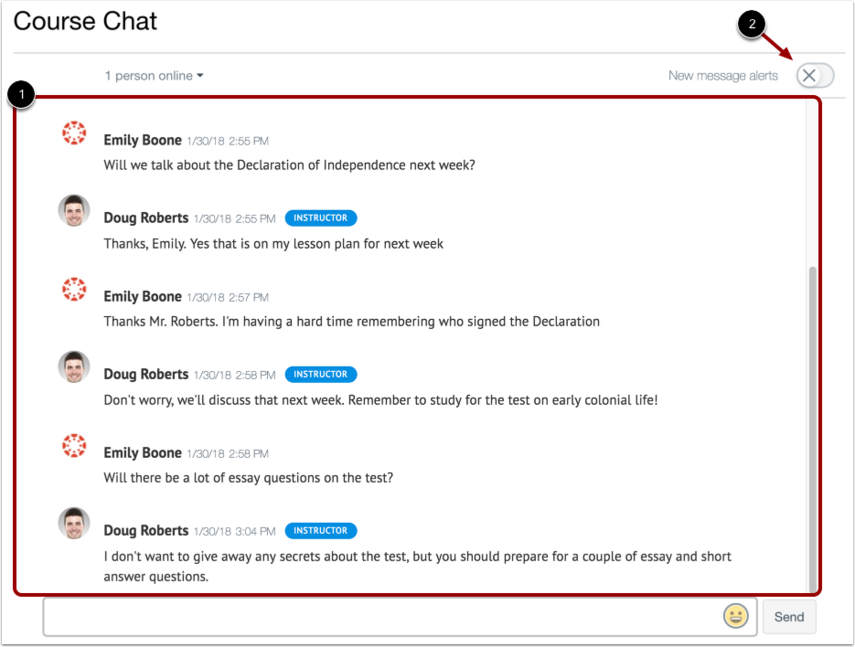 A view of the chat discussion window