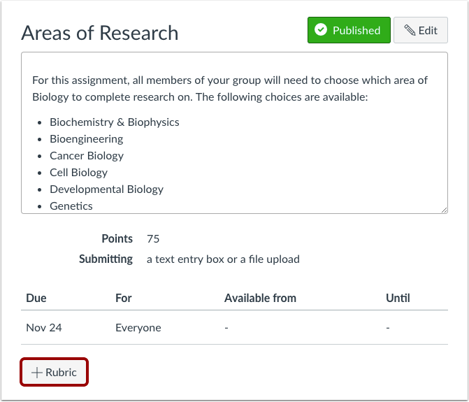 A screenshot of an assignment showing where to add a rubric
