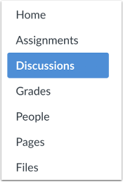 A screenshot of the Course Navigation Menu with Discussions highlighted