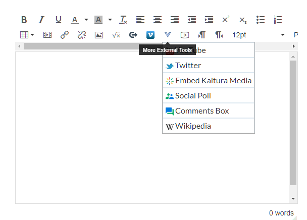A screenshot highlighting the External tools button