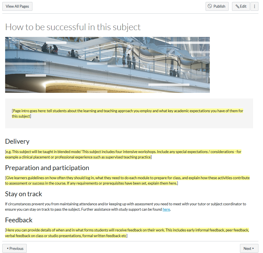 "A screenshot of the ""How to be successful in this subject""page from the UTS Canvas shell"