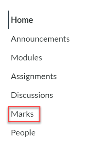 A screenshot of the Canvas navigation menu, with the Marks link highlighted.