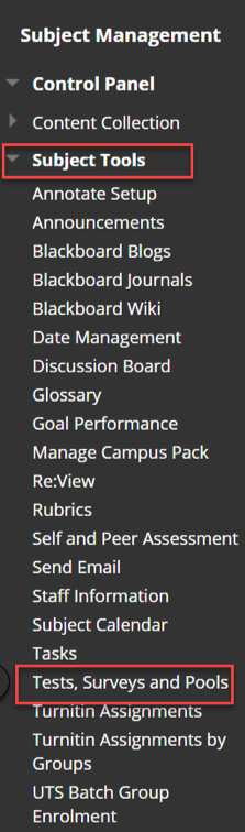 The subject tools menu expanded in UTSOnline with Tests Surveys and Pools selected.
