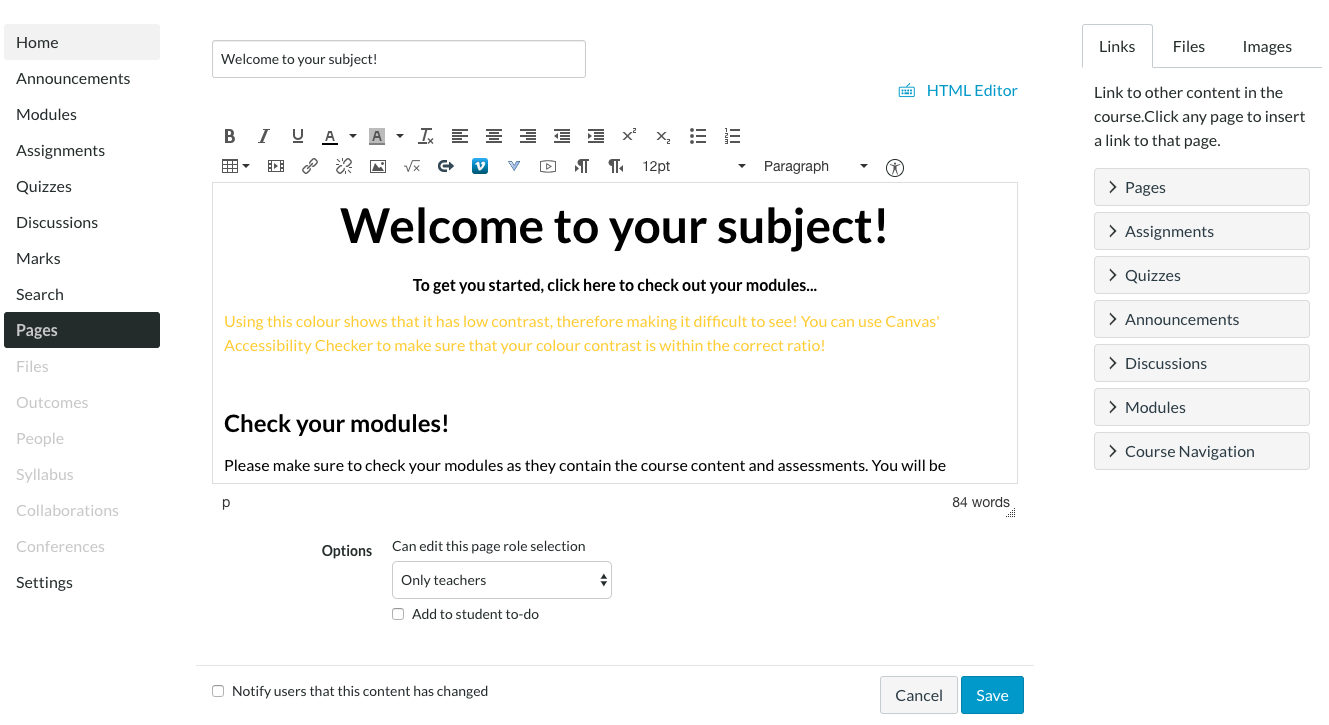 Screenshot of using yellow text on a white background within Canvas' Rich Content Editor.