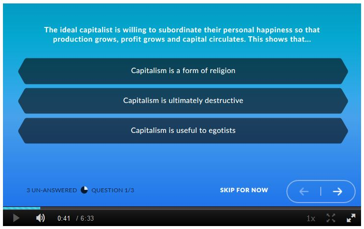 A screenshot of a question for viewers to answer, appearing during a an online video using Kaltura.