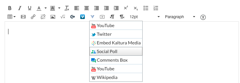 The more external tool menu expanded with social poll highlighted. It is number four out of seven menu items.