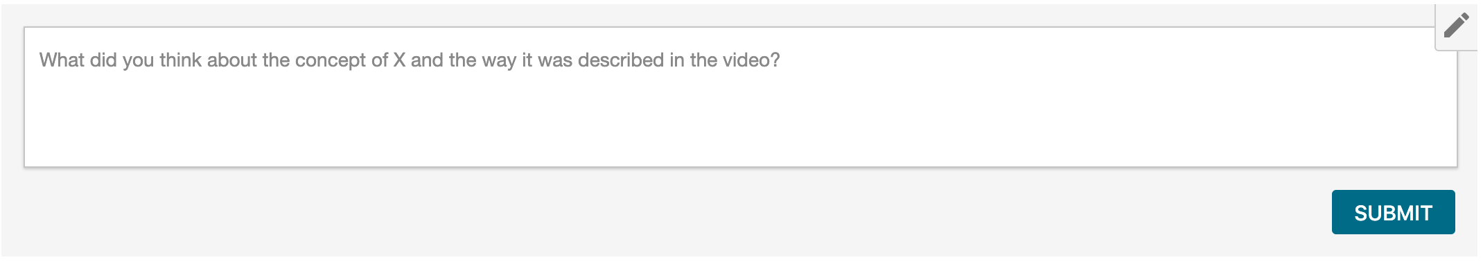"An example of a Comments Box embedded into a page in Canvas with the prompt question ""what did you think about the concept of X and the way it was described in the video?"""