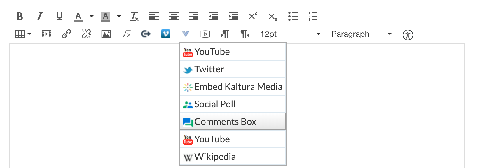 More external tools menu selected from the rich content editor. Comments box is selected which is the fifth menu item out of seven.