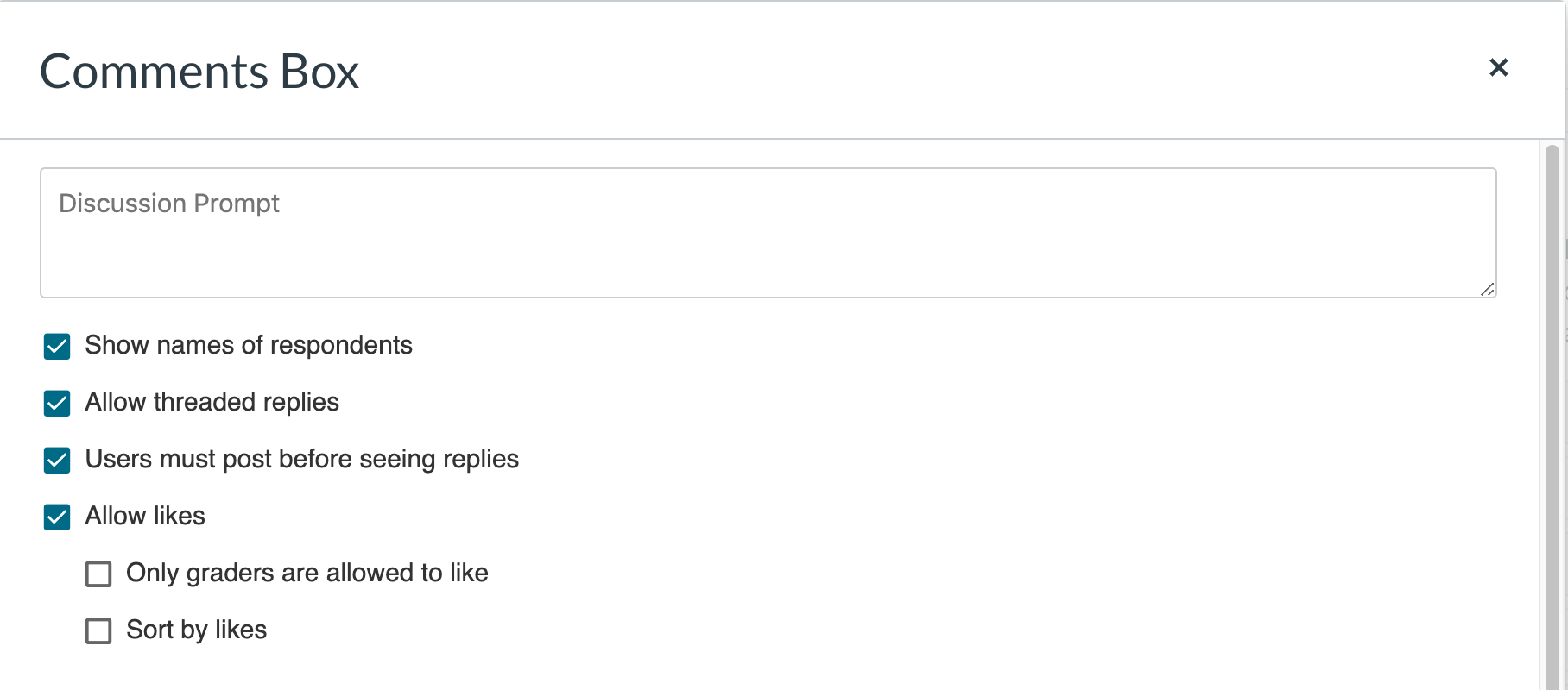 Screenshot of the Comments Box settings, including discussion prompt box, show names of respondents check box, allow threaded replies check box, users must post before seeing replies check box, allow likes check box