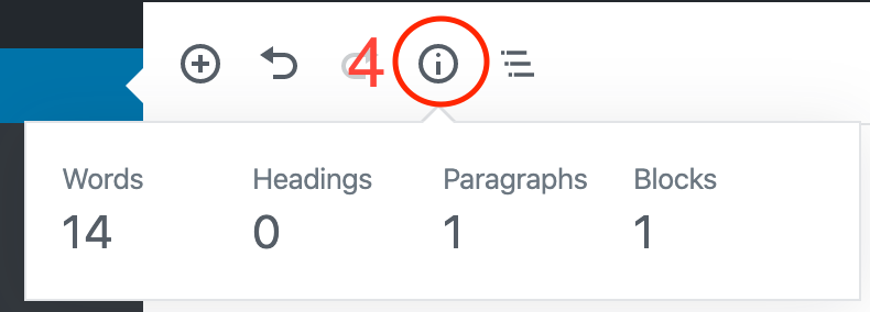This image shows how to check your word count. You can click on the information icon in the menu at the top of the screen to see word count and other information.