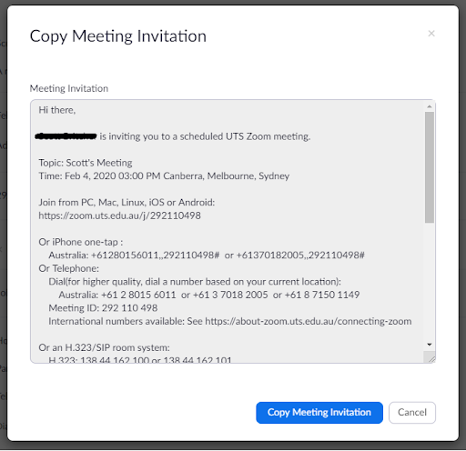 Screenshot of 'Copy Meeting Invitation' screen depicting automatically generated invitation for a Zoom meeting.