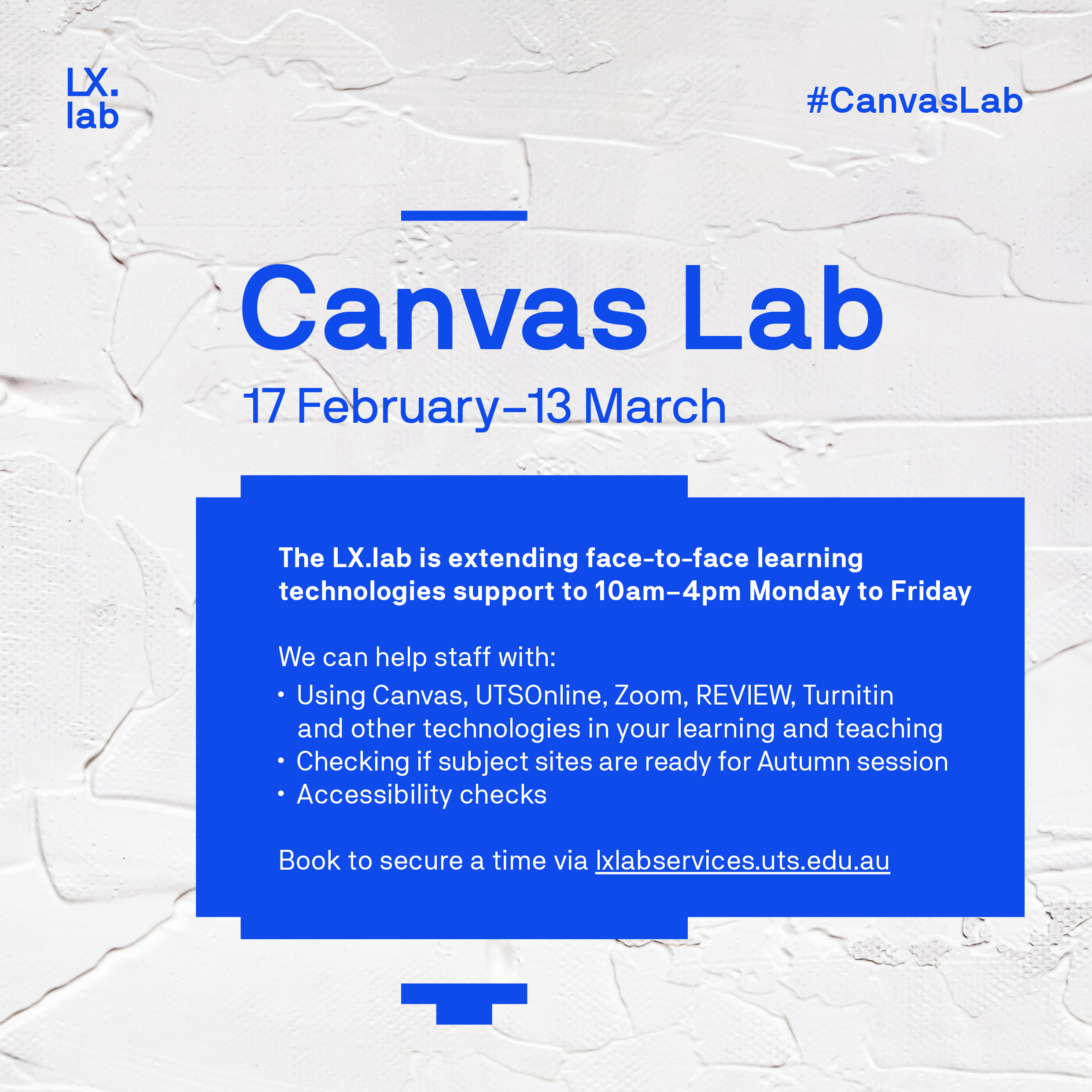 Canvas Lab Flyer with the date and support options that have been listed in the blog.