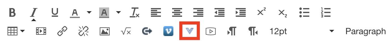 V icon in Canvas menu bar