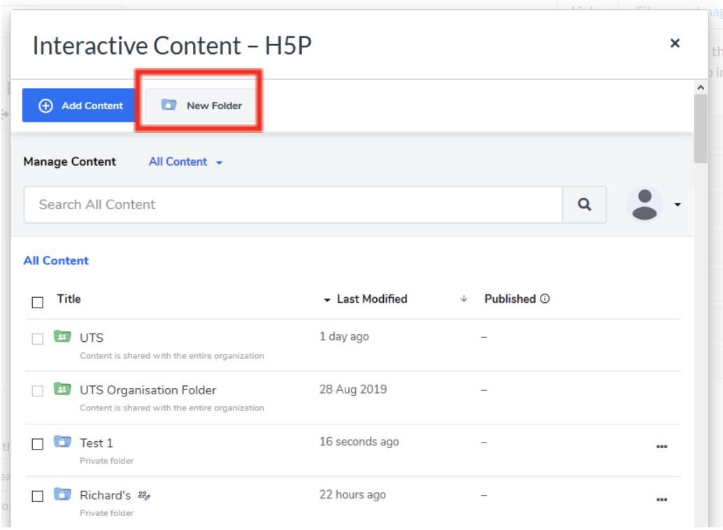 Screenshot of H5P New Folder option
