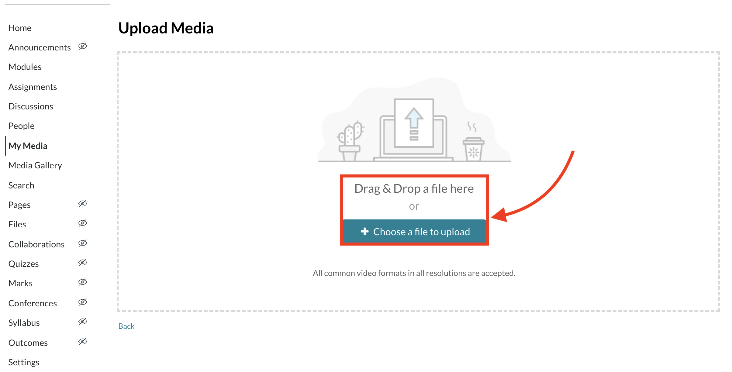 Screenshot of Upload Media page in Canvas