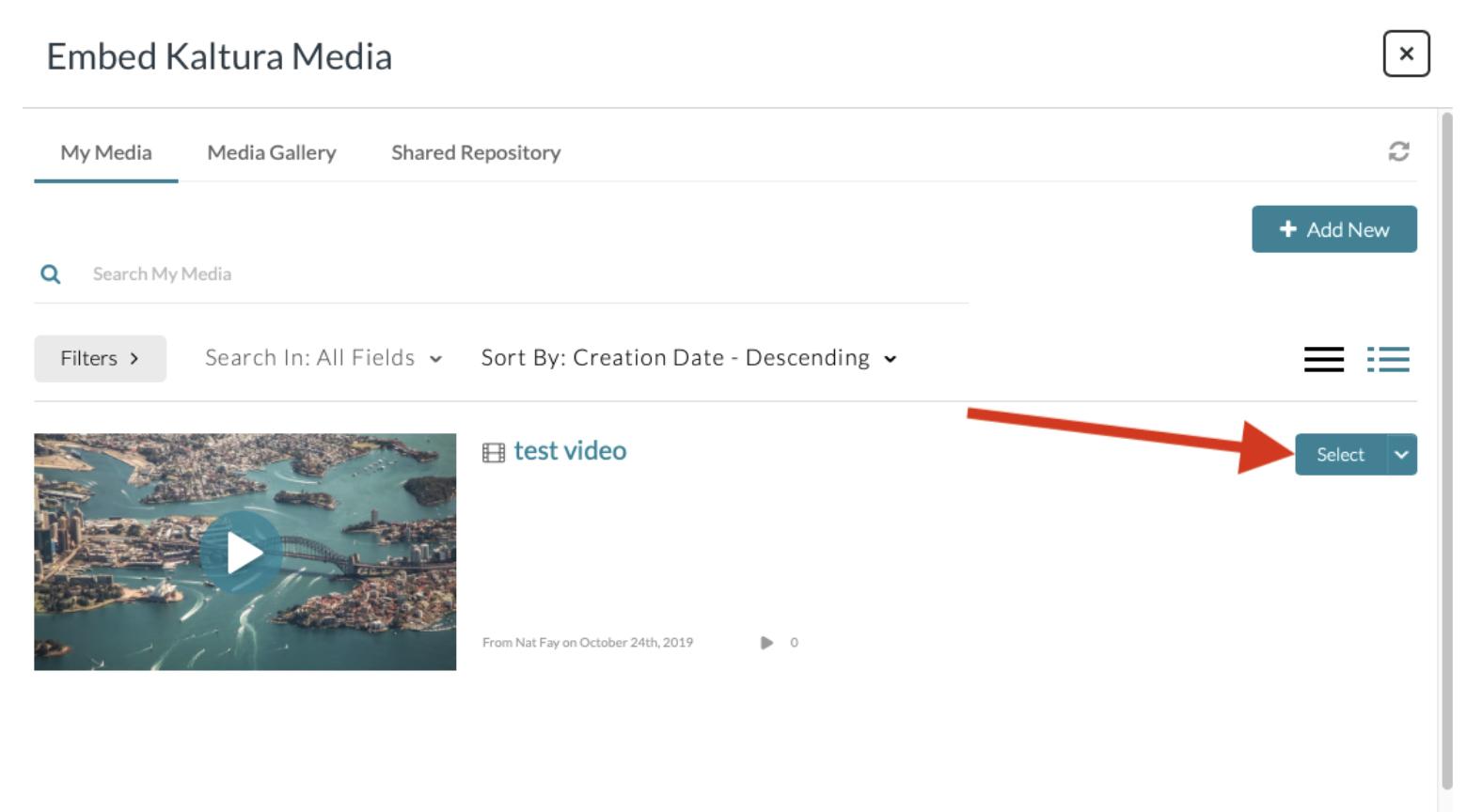 Screenshot of select option when embedding Kaltura media in Canvas