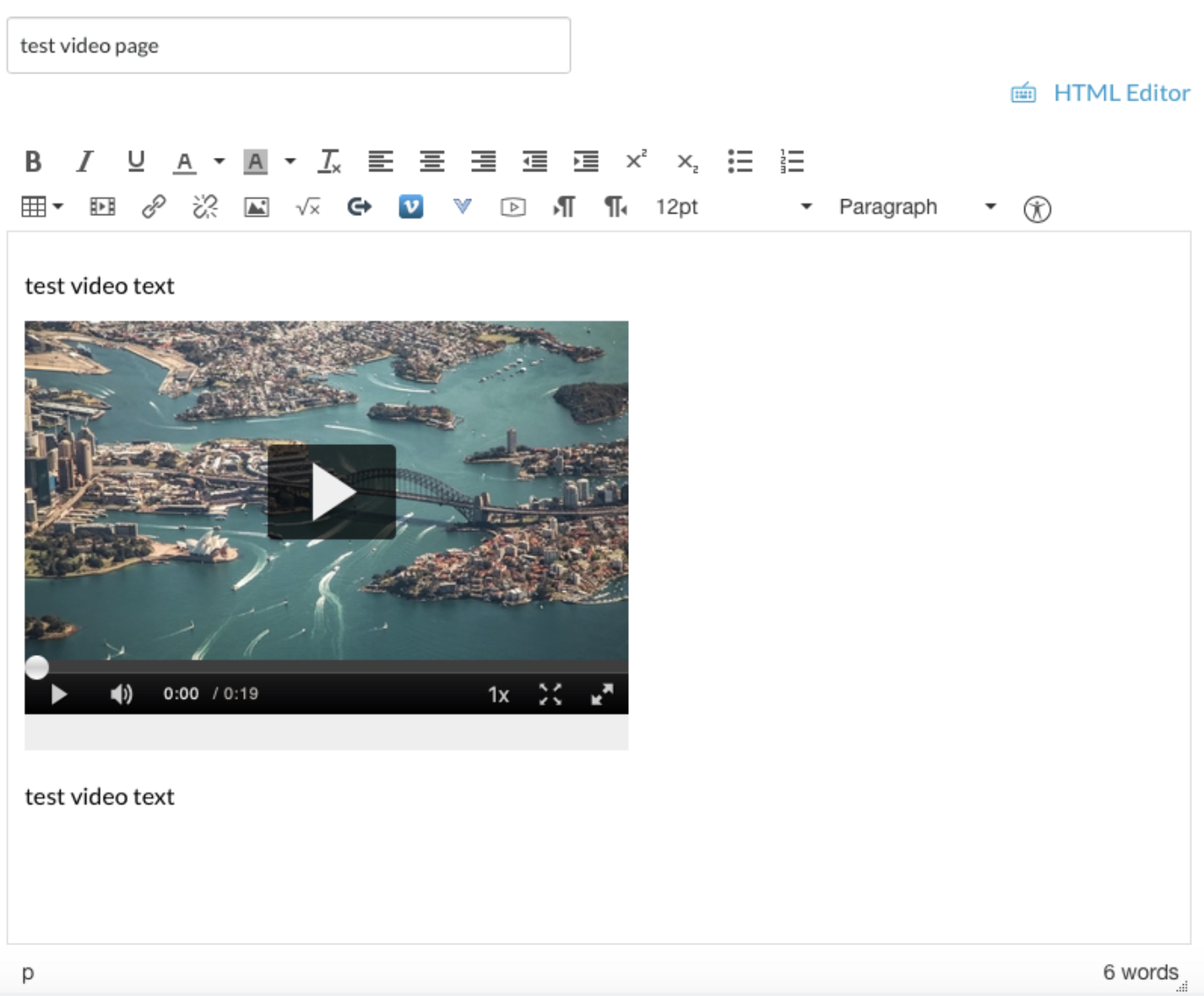 Screenshot of test video page
