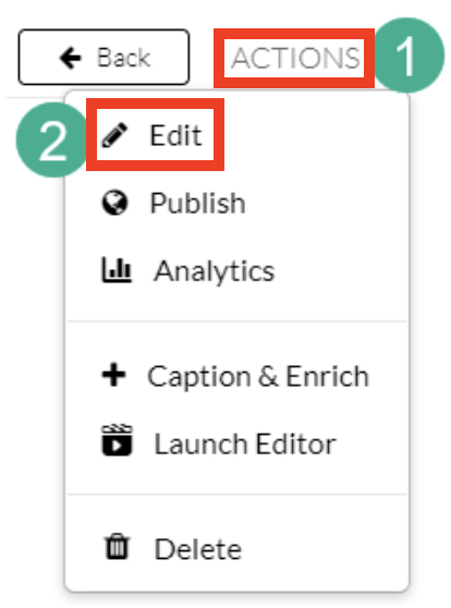 Screenshot of uploading and downloading captions in Canvas