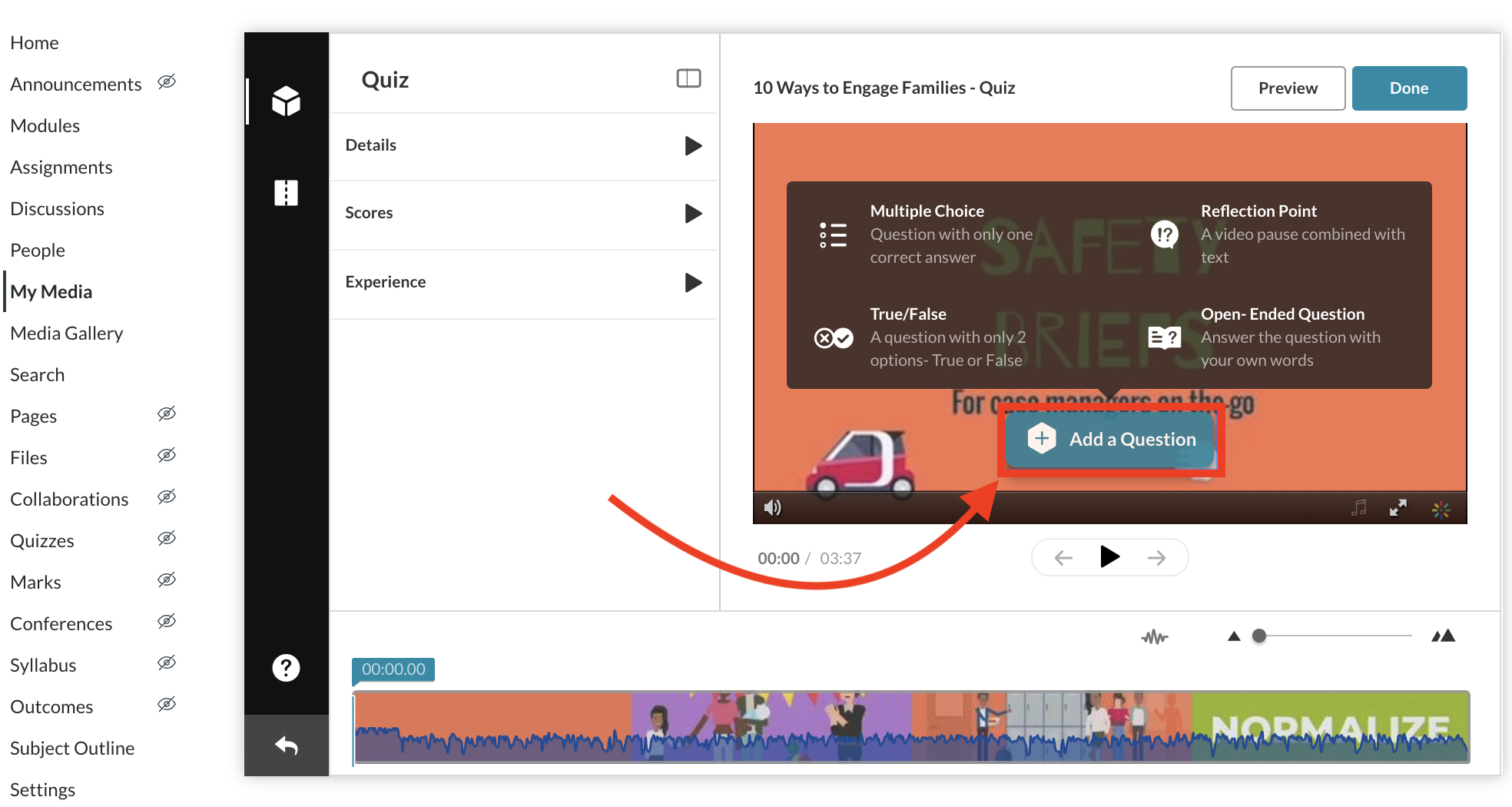 Screenshot of Video Quiz in Canvas