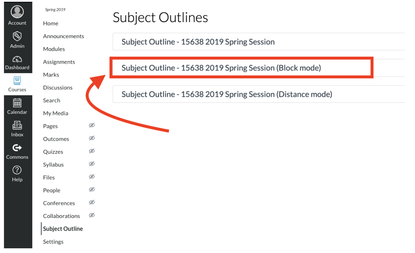 Screenshot of Subject Outline options in Canvas