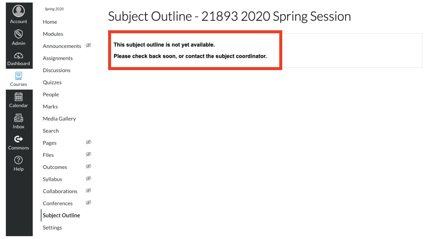 Screenshot of Error message page in Canvas