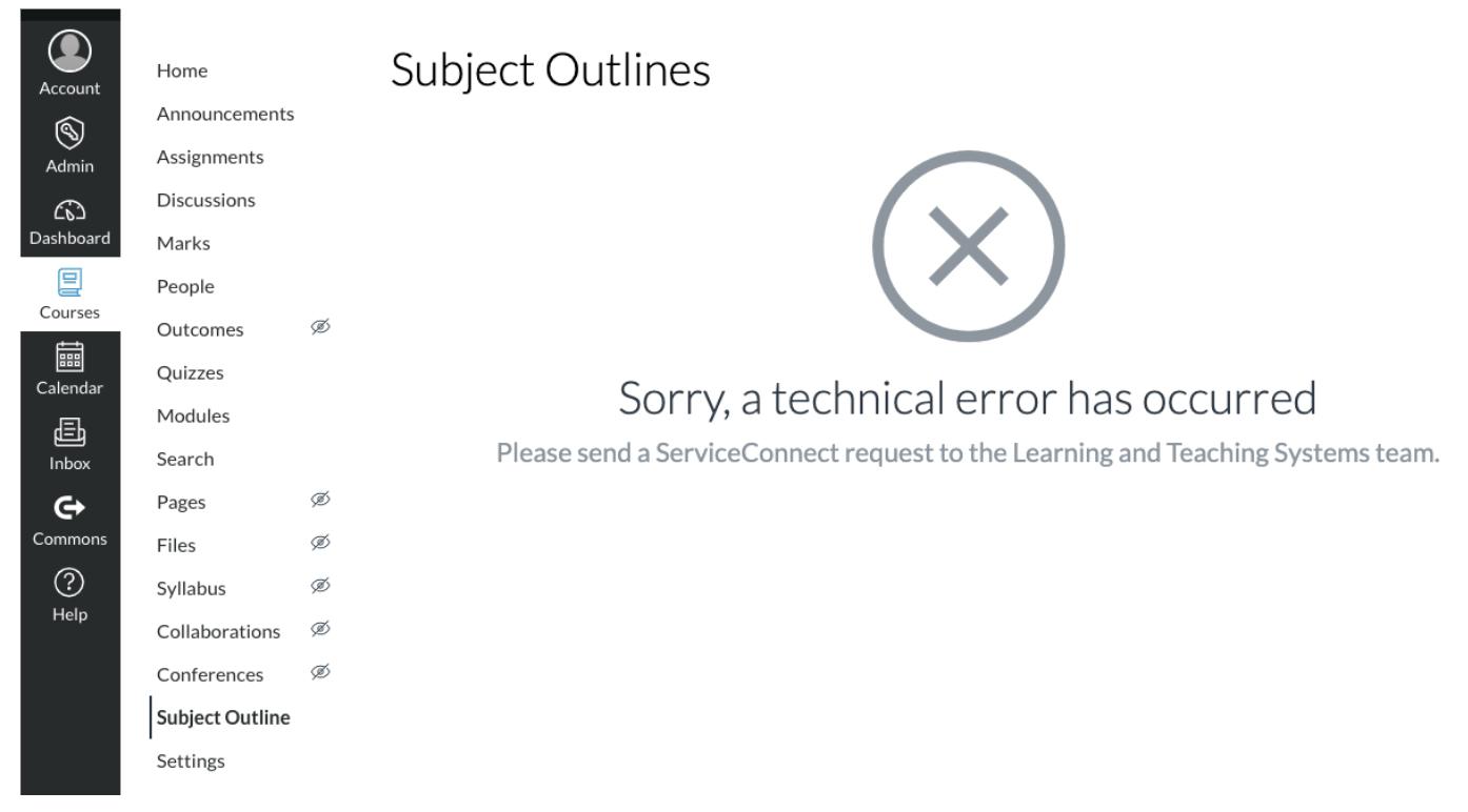 Screenshot of technical error