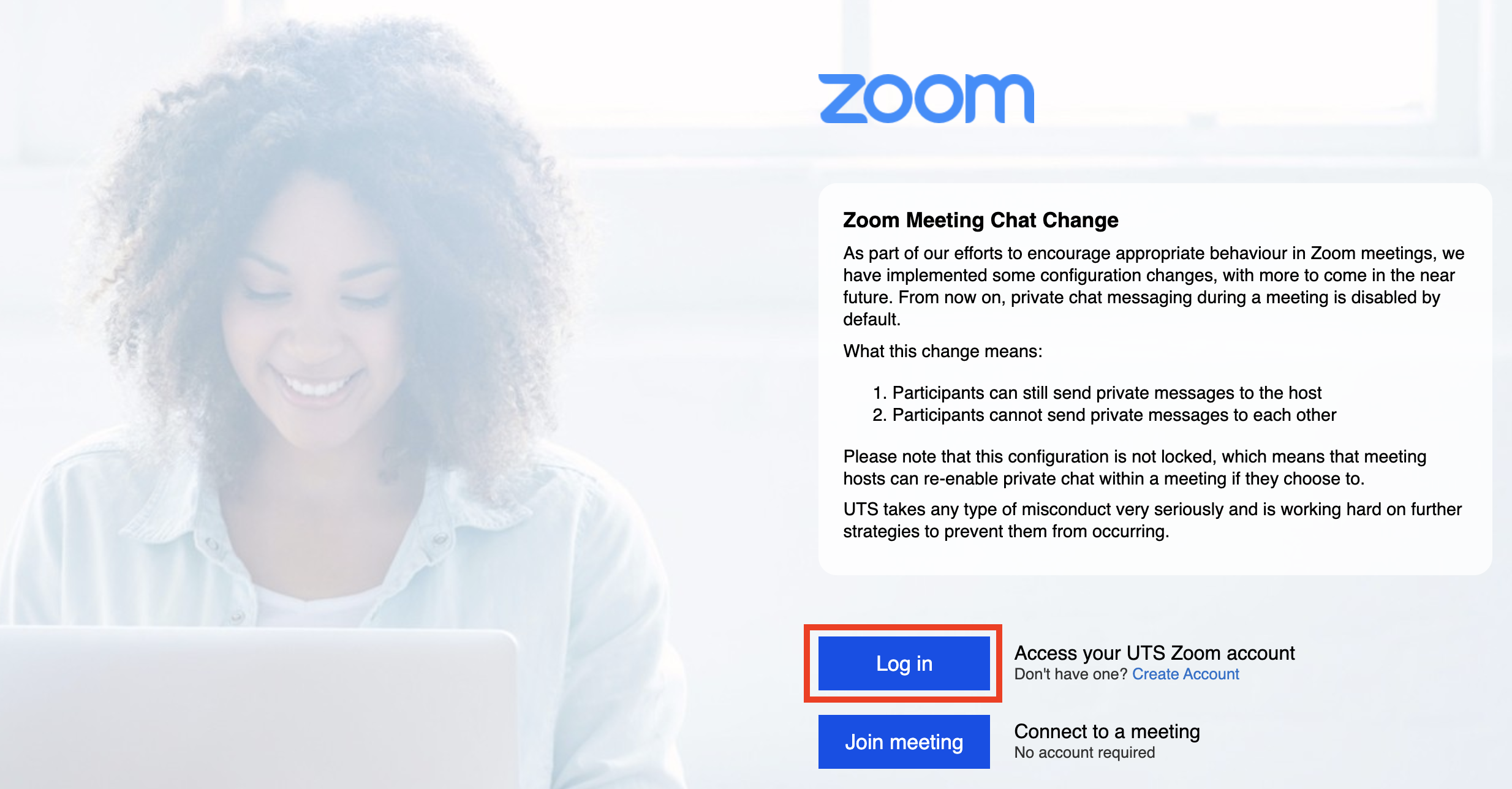 Screenshot of UTS Zoom homepage with 'Log in' button highlighted