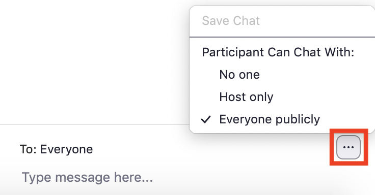 Screenshot of chat window with three dots (chat options) highlighted