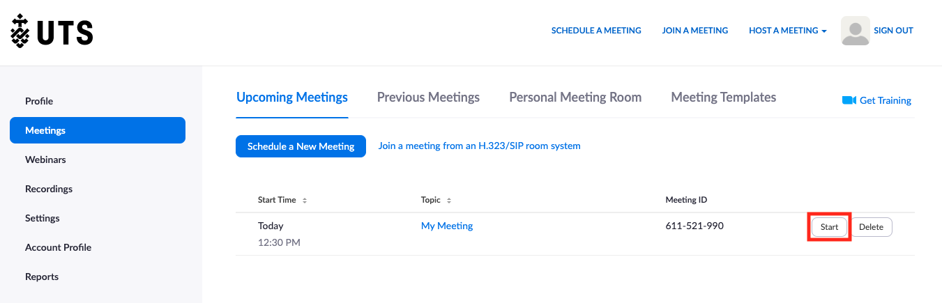 Screenshot of UTS Zoom Meetings page with 'Start' button highlighted