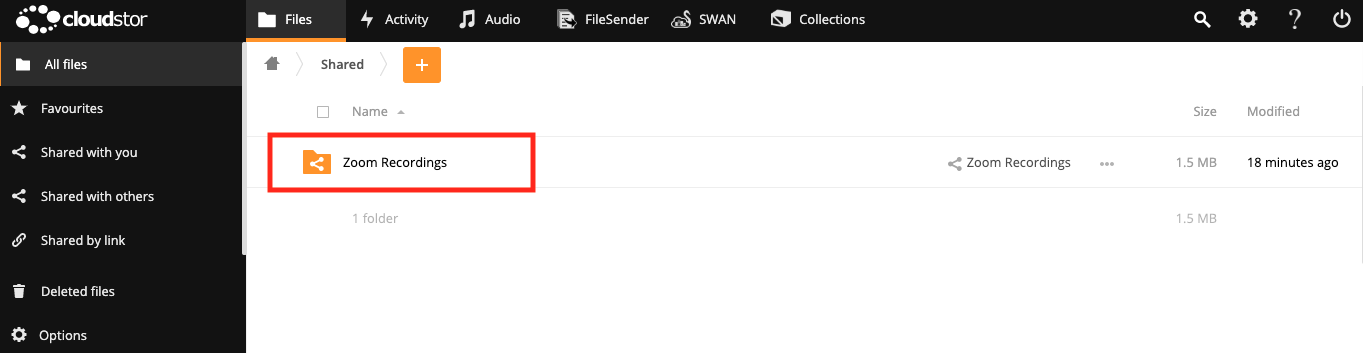 Screenshot of Cloudstor 'All Files' window with 'Zoom recordings' folder item highlighted