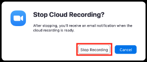 Modal box or pop-up window with 'Stop recording' highlighted