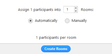 Screenshot of options for allocating participants to rooms